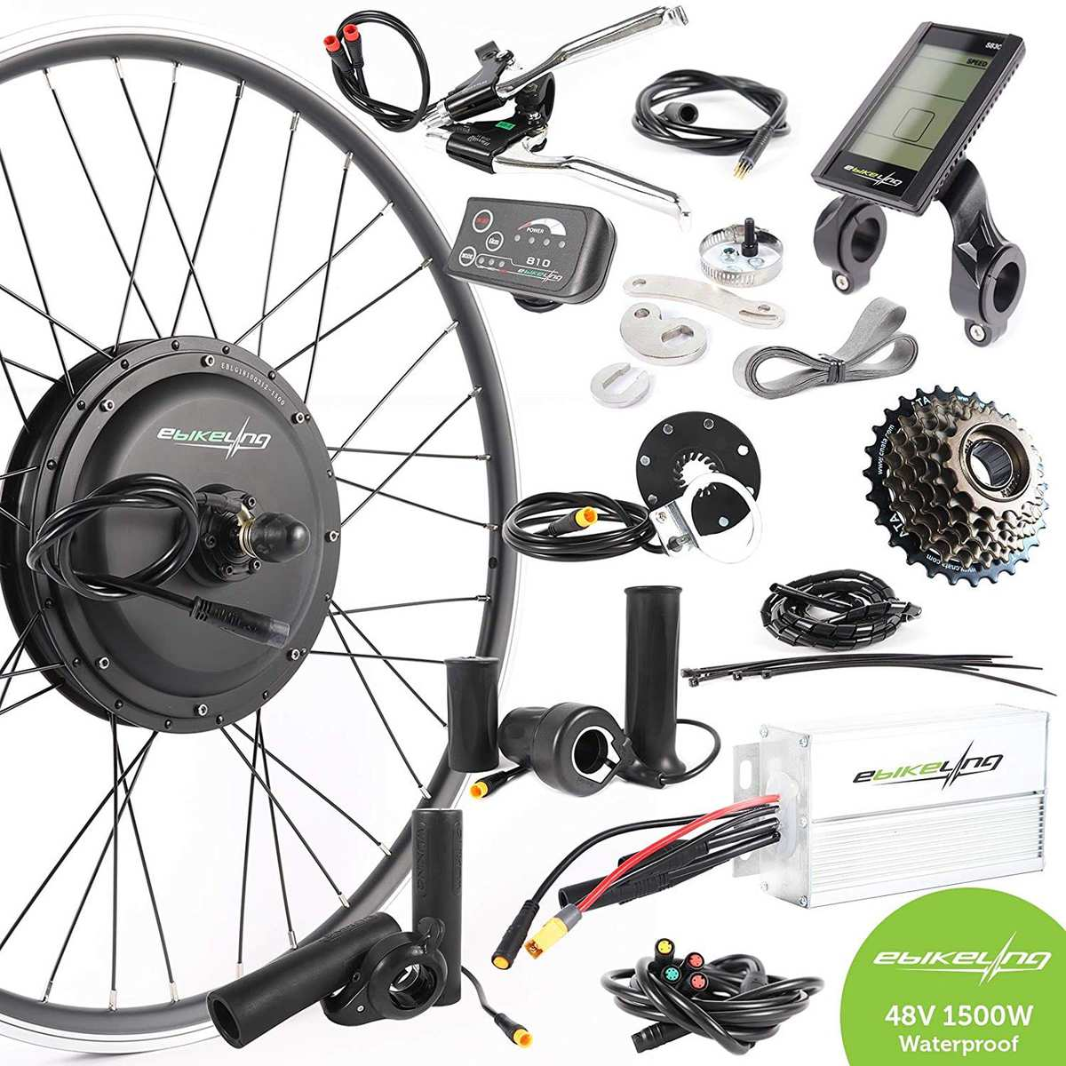48V 1500W Front Rear Wheel Electric Bicycle Motor Conversion Kit for Fat Tire