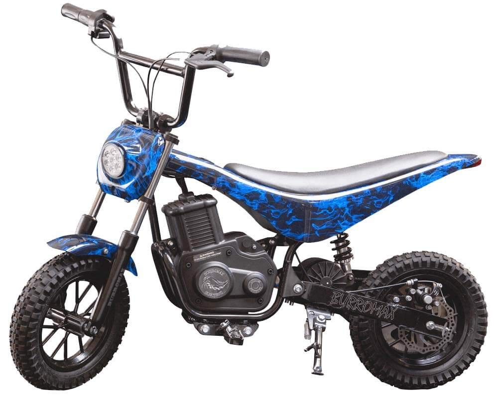 Burromax Blue Flames TT350R Electric Motorcycle Dirt Bike for Kids